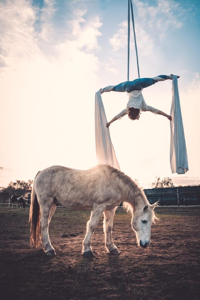 Séance photo de tissu aérienne avec un cheval by Paloma Barret - www.lesyeuxbleus.net